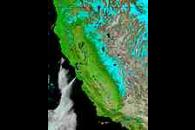 Snow and floods in California (false color)