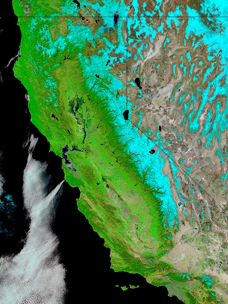 Snow and floods in California (false color) - related image preview