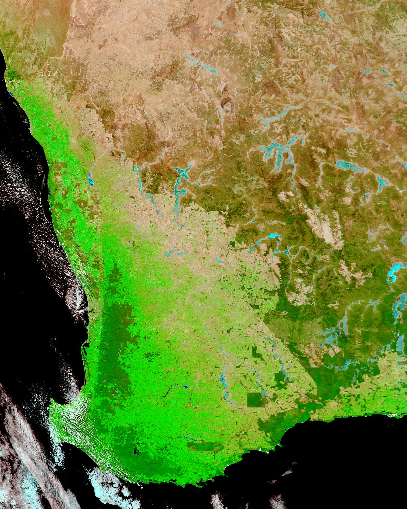 Drought conditions in Southwest Australia (false color) - related image preview