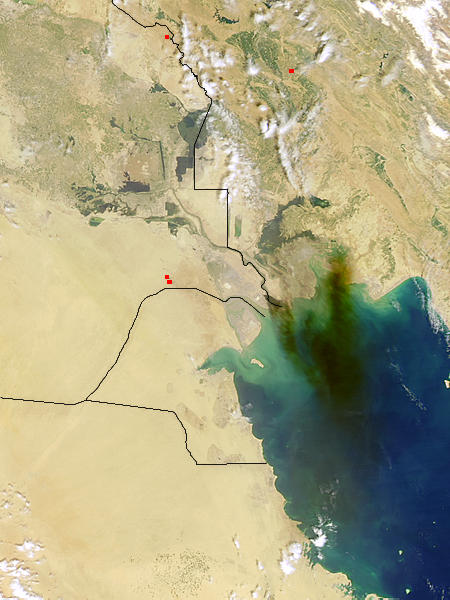 Smoke from pipeline fire in Southern Iraq (afternoon overpass) - related image preview