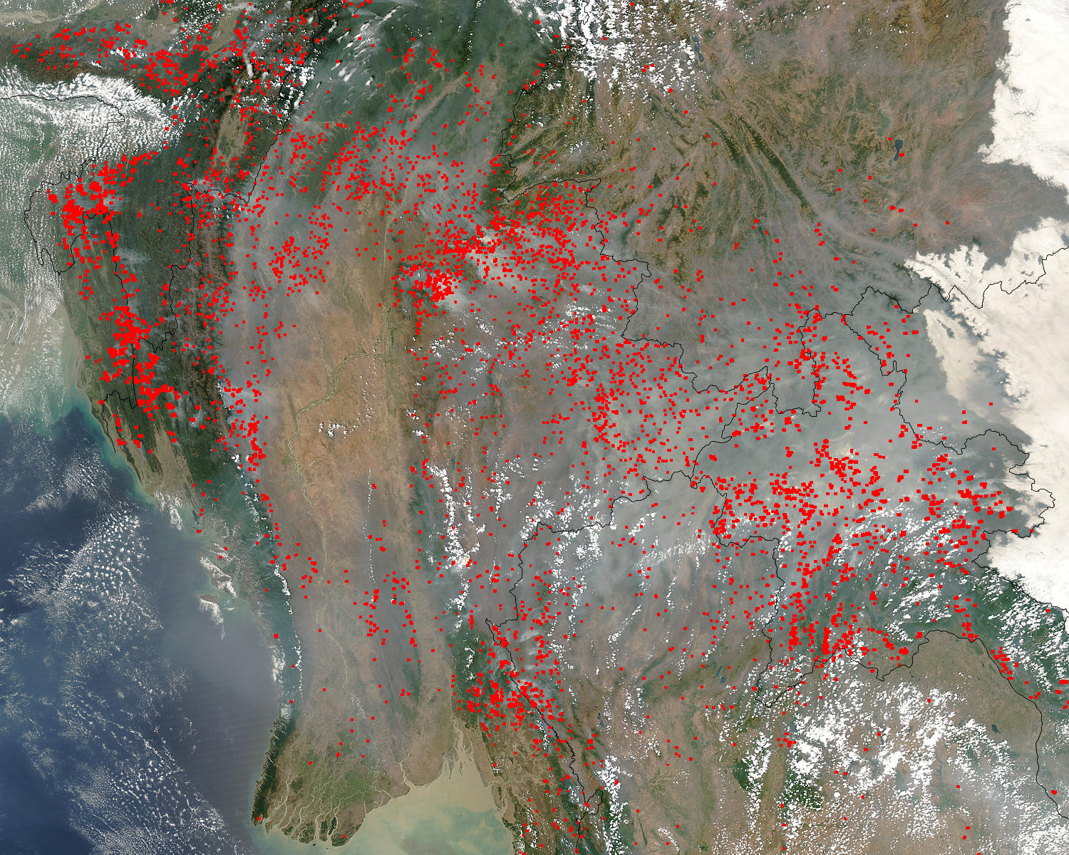 Fires and smoke across Indochina - related image preview