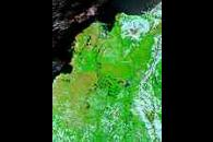 Floods in Colombia (false color)