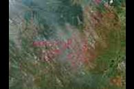 Fires across Congo and Angola (afternoon overpass)
