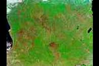 Fires and burn scars across Southern Africa (false color)