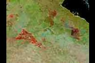 Fires and burn scars in Northern Australia (false color)