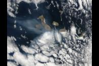 Ash plume from Sierra Negra Volcano, Galapagos Islands