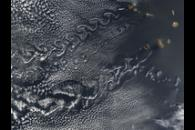 Cloud vortex streets off the Cape Verde Islands