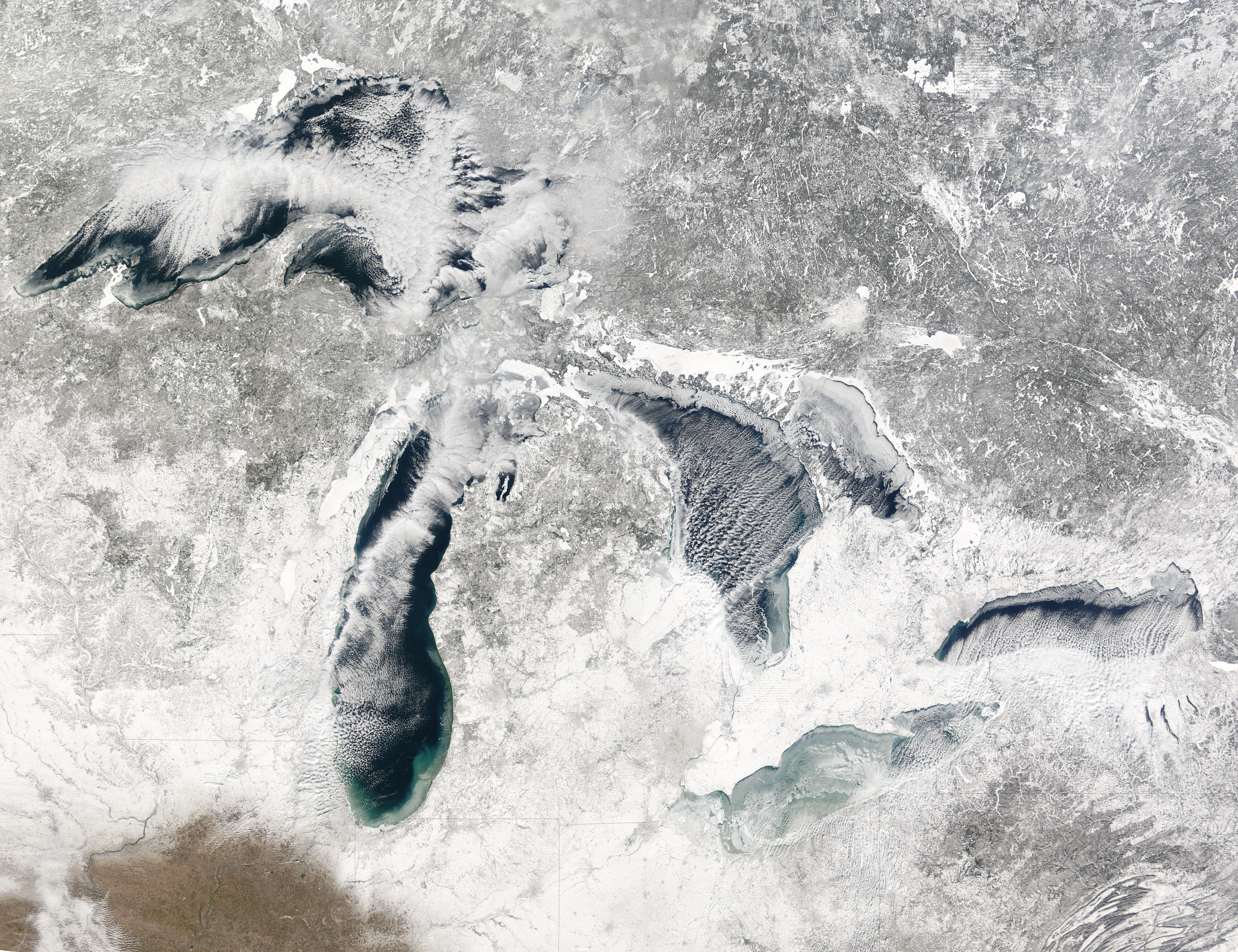 Nasa Visible Earth Freezing Great Lakes Region