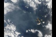 Volcanic haze from Sierra Negra Volcano, Galapagos Islands