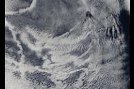 Cloud vortices off Guadalupe Island, near Baja California