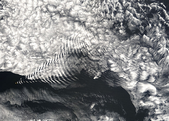 Ship-wave-shaped wave clouds induced by Amsterdam Island, Indian Ocean - related image preview