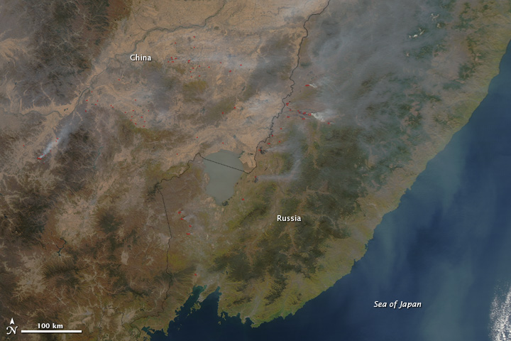 Fires in Russia and China