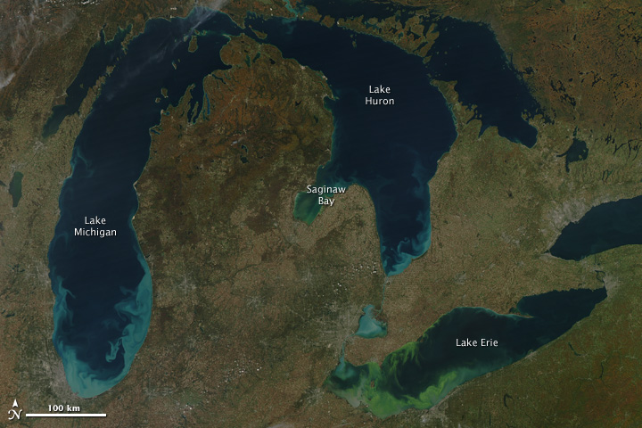 Sediment and Algae Color the Great Lakes