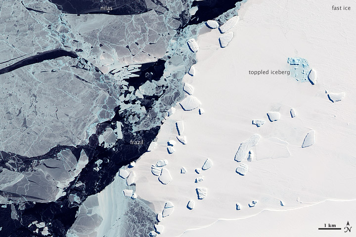 Sea Ice and Icebergs off East Antarctica