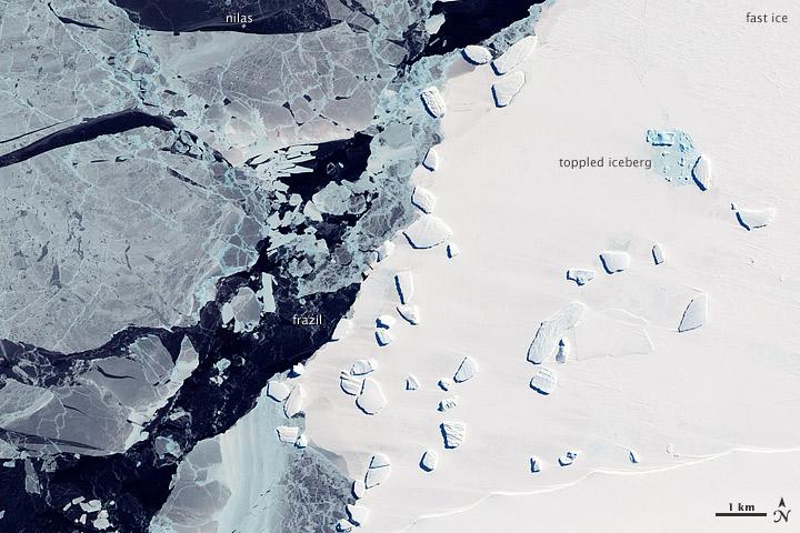 Sea Ice and Icebergs off East Antarctica