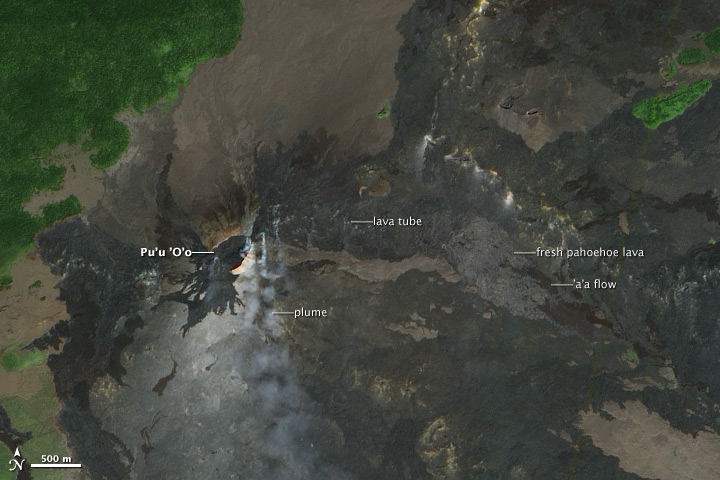 Fresh Lava Flows Surround Pu'u 'O'o