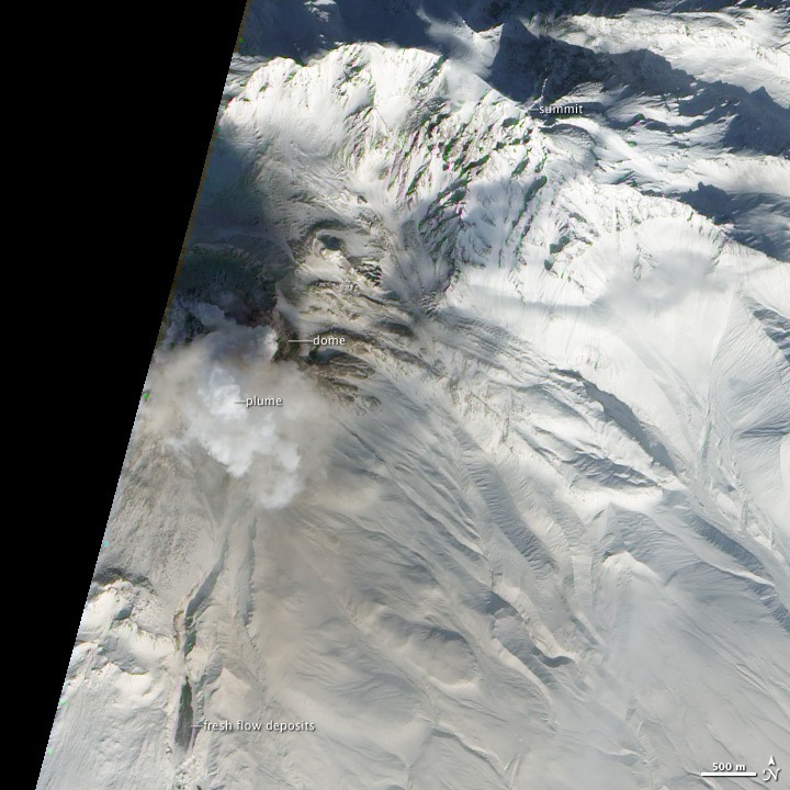 Growth of Shiveluch Volcano
