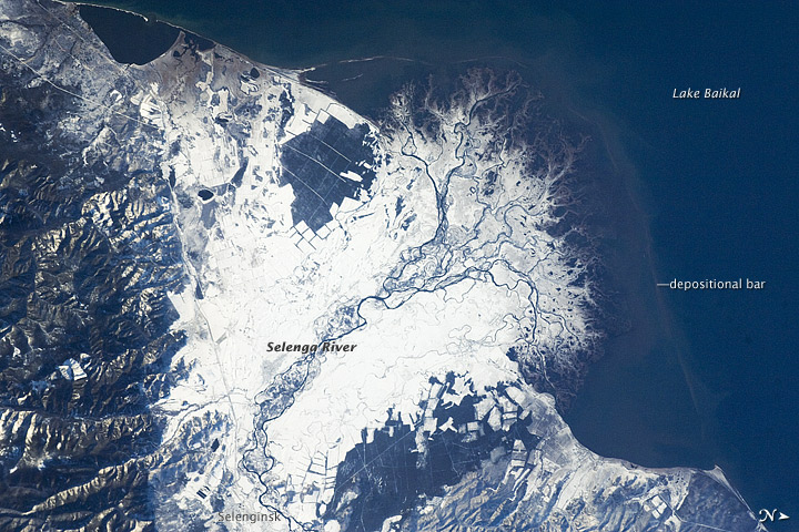 Snowfall on the Selenga River Delta, Russia
