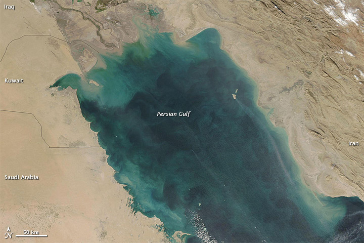 Green Hues Dominate the Persian Gulf