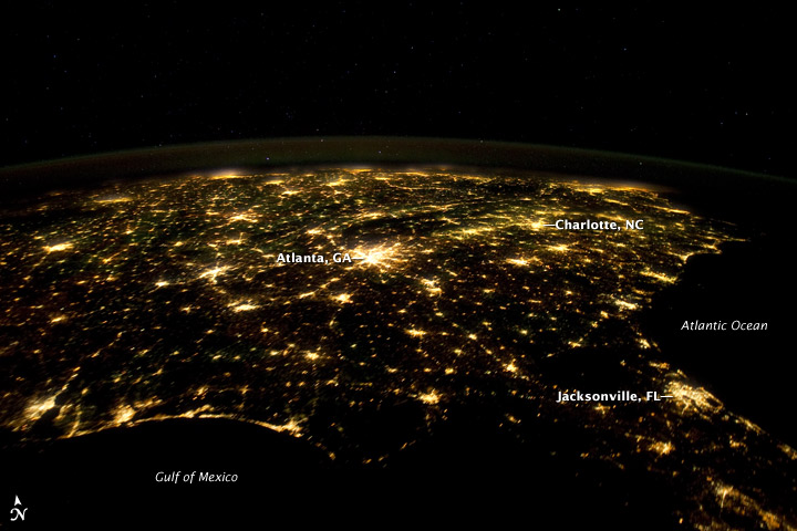 Nasa Visible Earth Southeastern Usa At Night