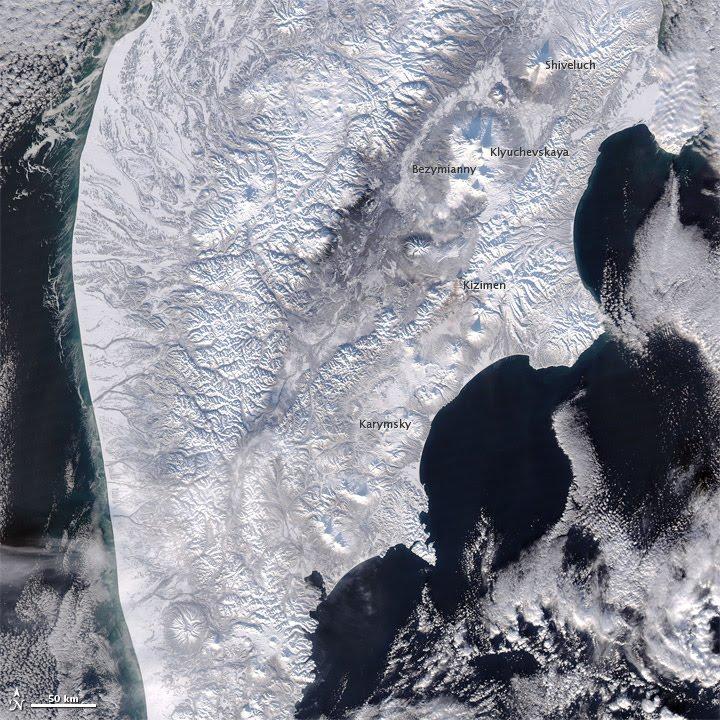 Snow and Volcanoes on Kamchatka