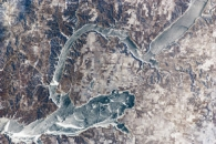 Ice Cover on Lake Sakakawea, North Dakota