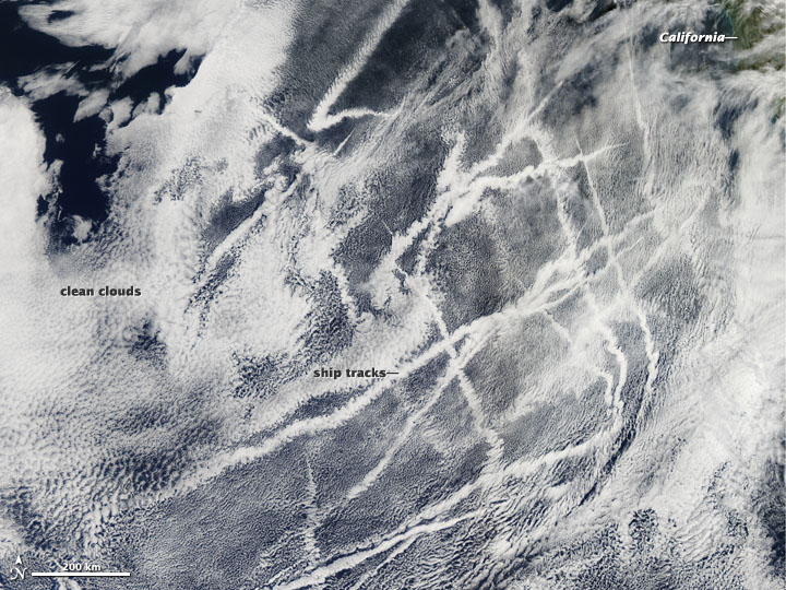 Ship Tracks off the California Coast