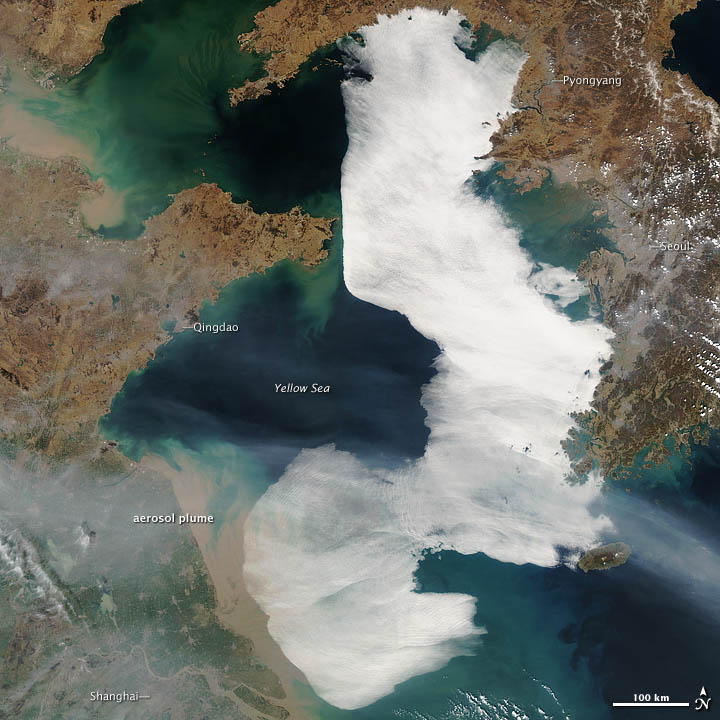 Fog Blankets the Yellow Sea