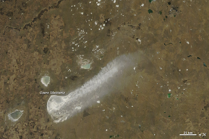 Lake Sediment Plume in Northern Kazakhstan
