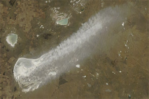 Sediment Plume in Northern Kazakhstan