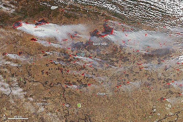 Fires Blaze North of Omsk