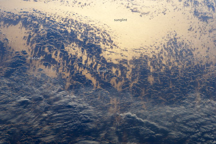 Sunglint and Clouds off Western South America