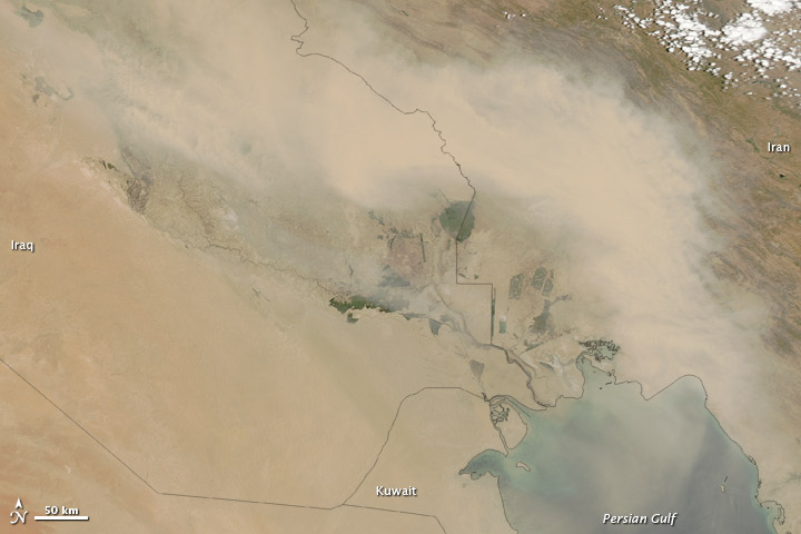 Dust over Iraq and Iran