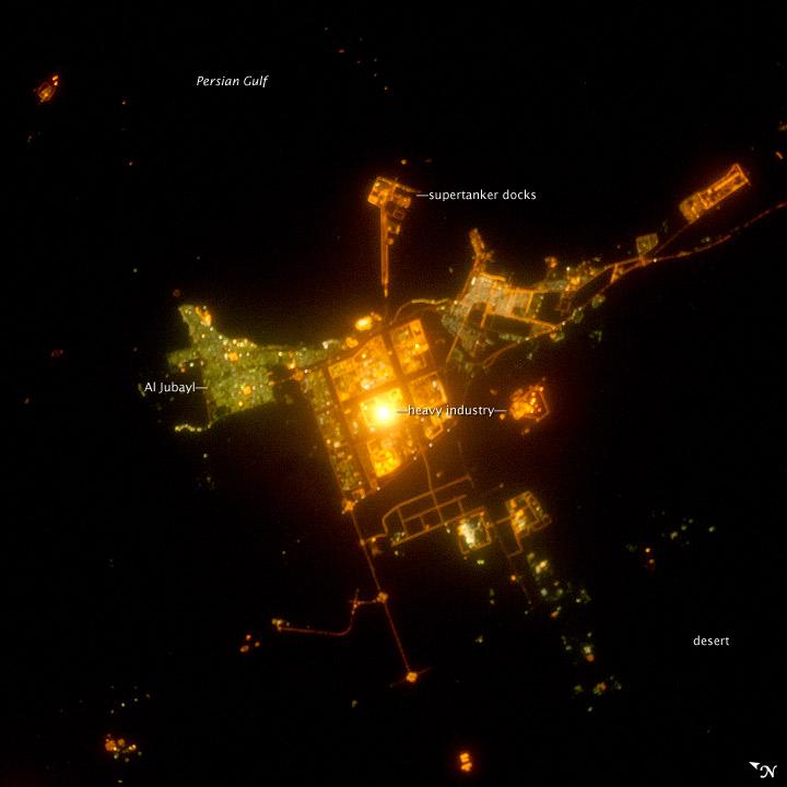Al Jubayl, Saudi Arabia at Night