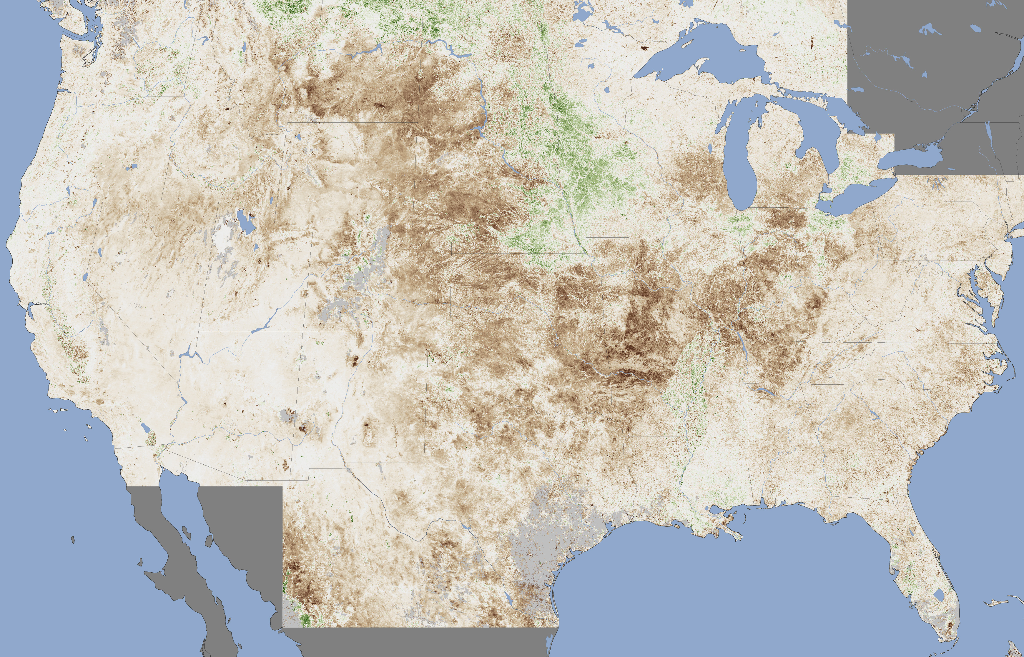 Drought Grips The United States Image Of The Day - Us map day nasa