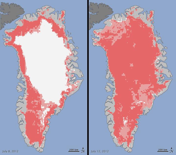 Satellites Observe Widespread Melting Event on Greenland
