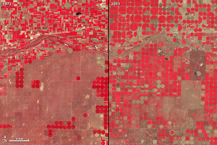 Center-Pivot Irrigation, Kansas, courtesy NASA