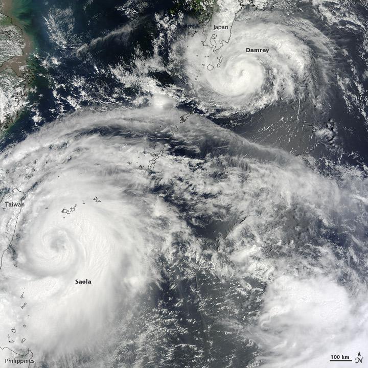 Typhoons Saola and Damrey