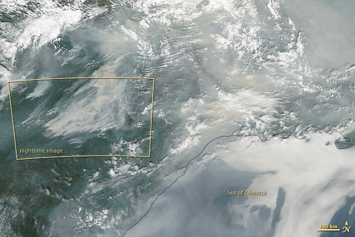 Night View of Fires in Siberia - related image preview