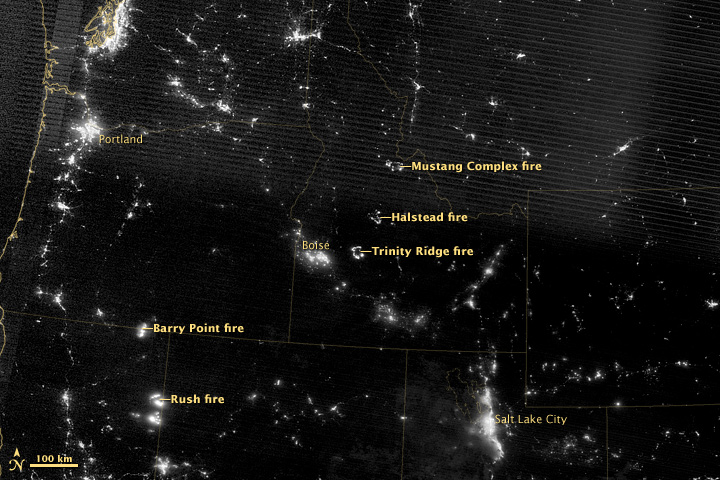 Night View of Western Wildfires