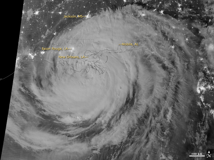 Night View of Hurricane Isaac