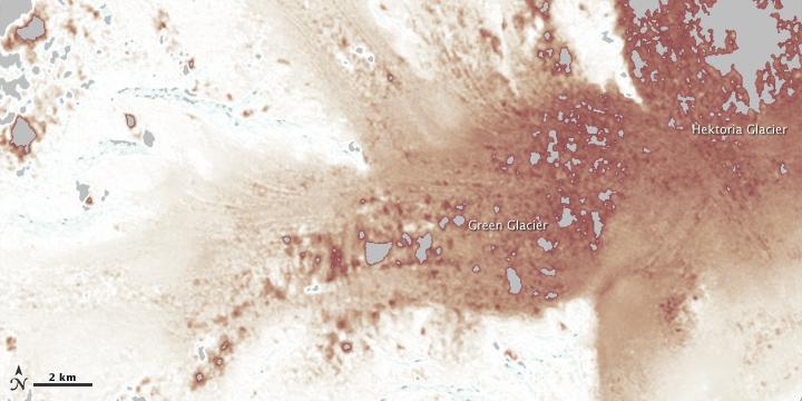 Thinning at Hektoria and Green Glaciers