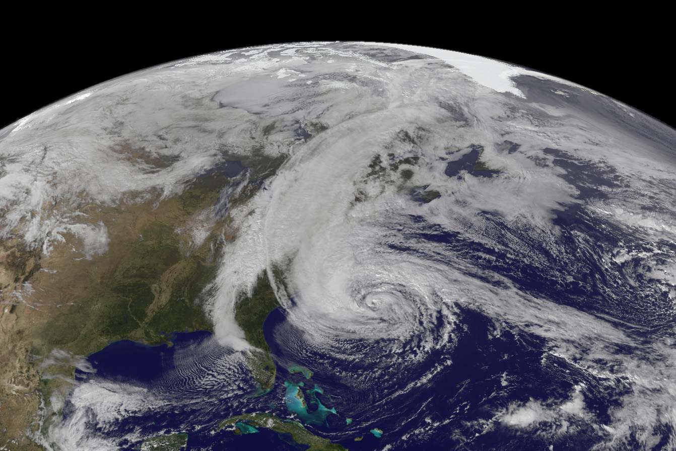 October 28, 2013 satellite image of Hurricane Sandy taken from a NASA satellite