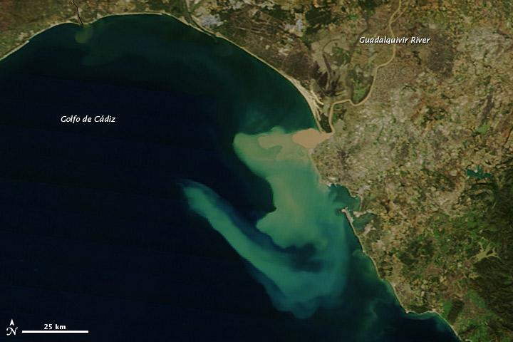 Sediment Plume along the Coast of Spain
