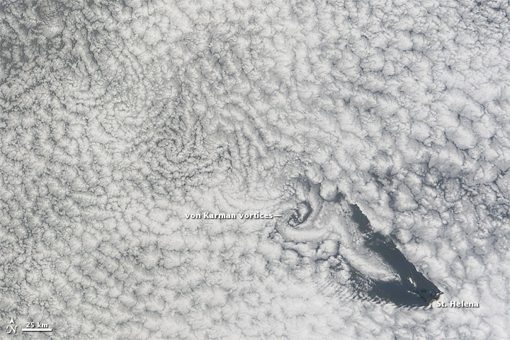 Cloud Vortices off St. Helena