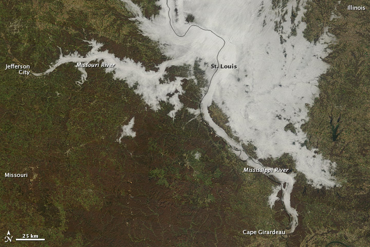 Dense Fog over the Missouri and Mississippi Rivers