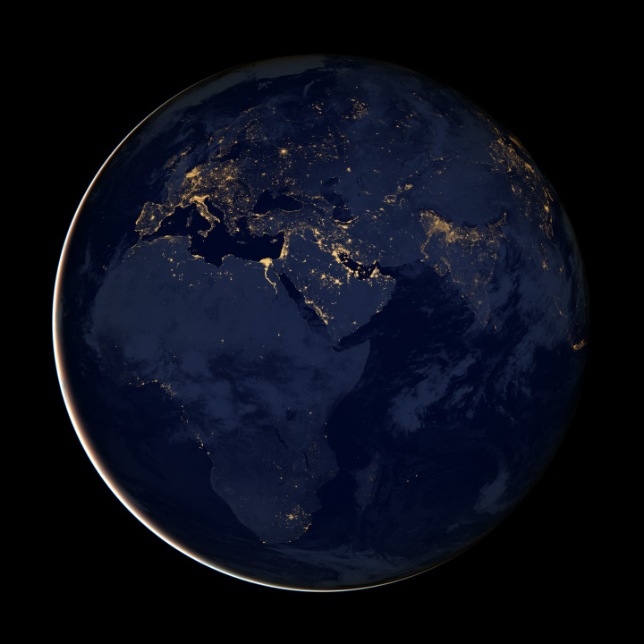 City Lights of Africa, Europe, and the Middle East