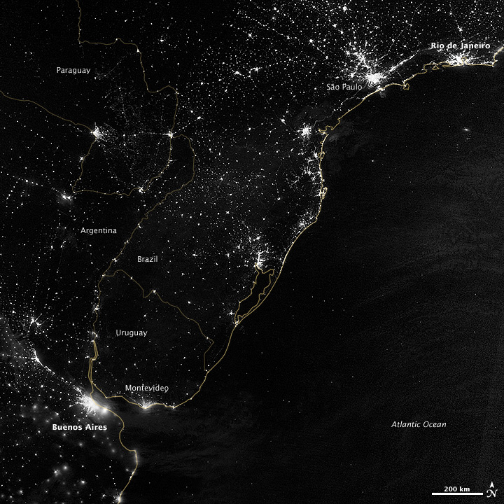 City Lights of South America's Atlantic Coast