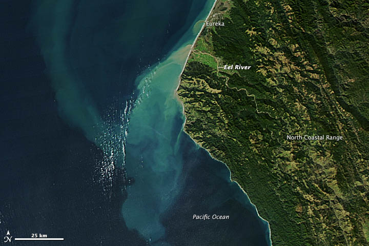 Sediment from the Eel River, courtesy NASA