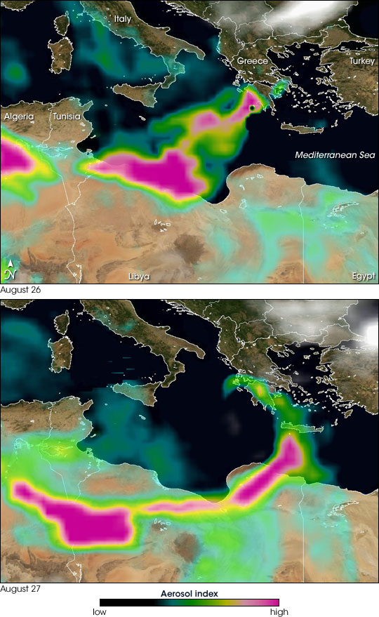 Smoke Spreading from Greece to Africa